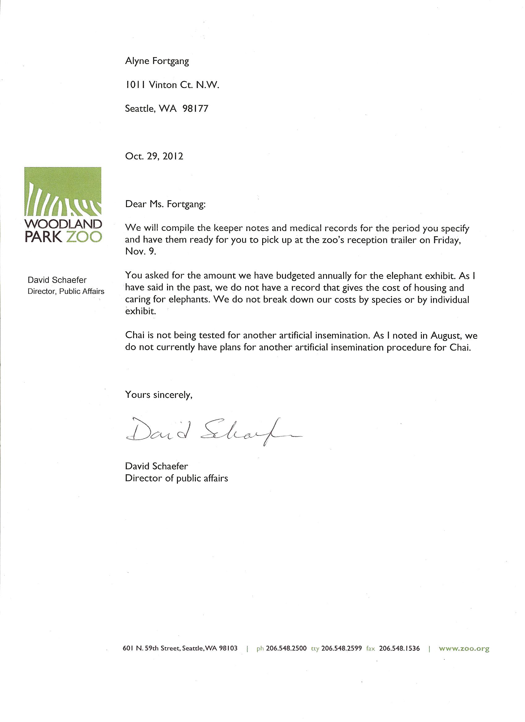 Friends of woodland park zoo elephants press release for Service pet letter